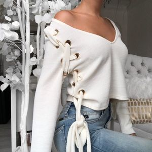 Tops - CSZARINA Ivory Laced Up LS Shirt